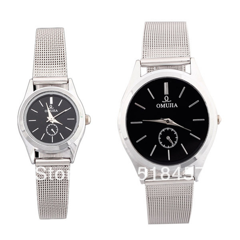 Good Quality Slim Silver Mesh Bracelet Lovers' Quartz Wrist Watch Gift Watch(China (Mainland))
