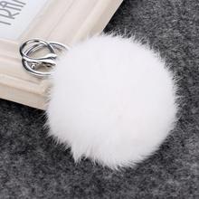 Best Selling prata chapeamento 15 cores coelho 8 CM pele bola Chaveiro Pom Pom bola de pêlo Chaveiro Chaveiro Feminino bolsa charme(China)