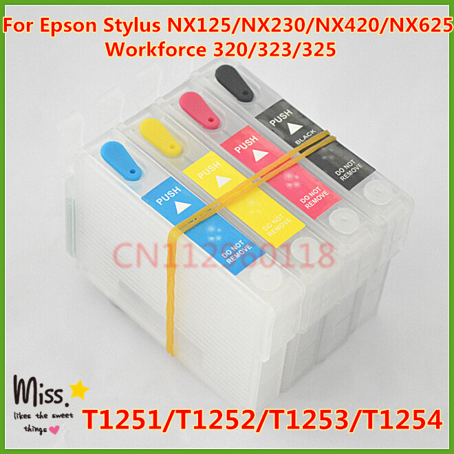 T1251-T1254 Refillable Ink Cartridge For Epson Stylus NX125 NX625 NX420 NX230 Workforce 320 323 325 Ink Cartridges With Chip
