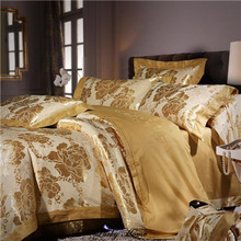 Queen King size embroidery Jacquard bedding set for wedding 100% cotton stain duvet cover set bed sheet+duvet cover+ pillowcase(China (Mainland))