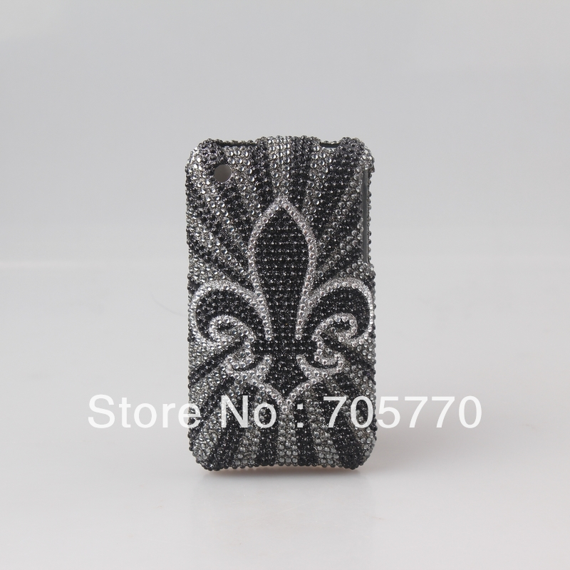 Free Shipping Bling Printing Full Diamond Crystal Cell Phone Case Covers for iphone 3GS(China (Mainland))