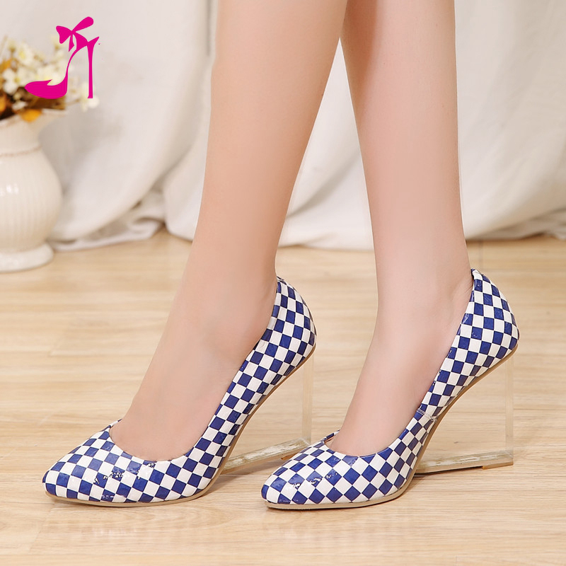 Women Shoes Pumps Pointed Toe High Heels Animal Prints Plaid Transparent Heel Print Wedge Real Leather Slip On Yellow Mosaic<br><br>Aliexpress