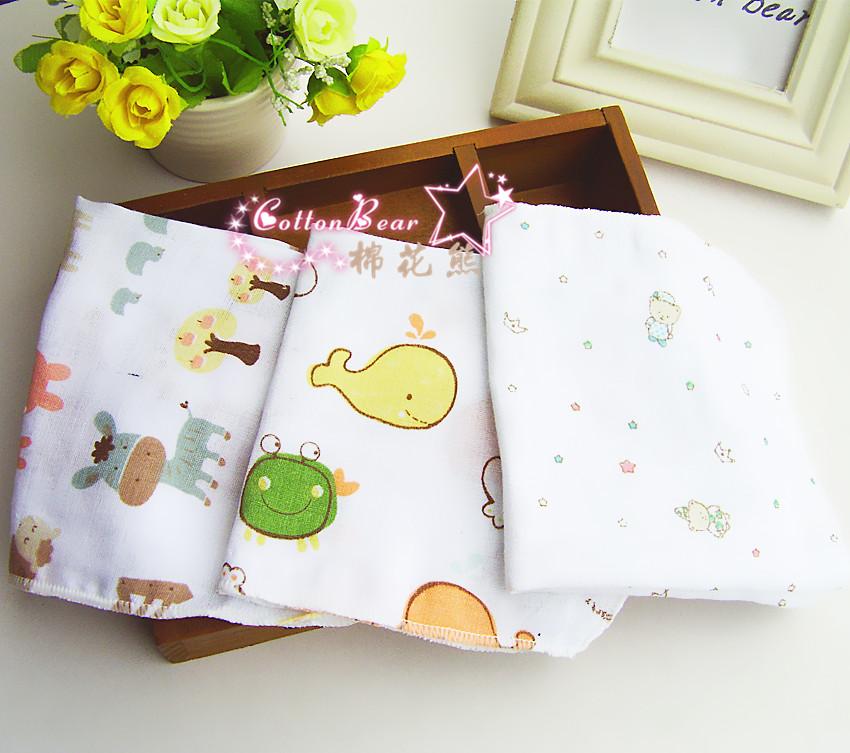Fashion 2016 High Quality Cute Unisex Boy and Girl Baby Clothing Print Cartoon Gauze 3 pces Bibs Burp Cloths FJ11(China (Mainland))