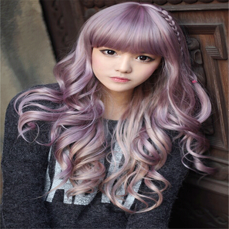 korean women wigs with bangs cheaps full taro wig curly long light purple wig natural hair heat resistant synthetic wigs cosplay(China (Mainland))