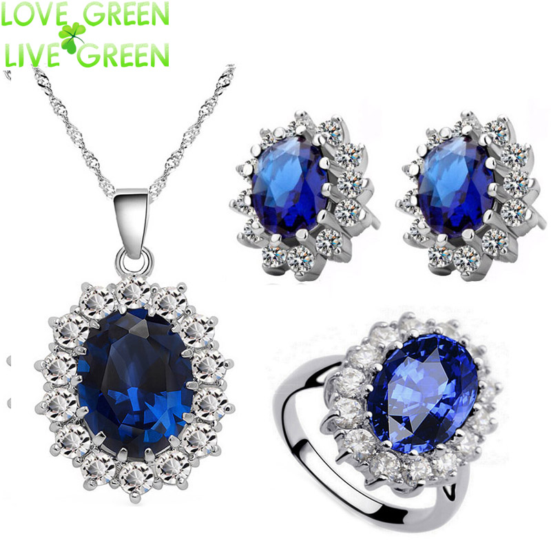 Queen Royal ocean blue 18K white gold austrian crystal rhinestones zircon pendant chain necklace earrings ring Jewelry sets 8585 - LOVE GREEN LIVE GREEN--Crystalized store