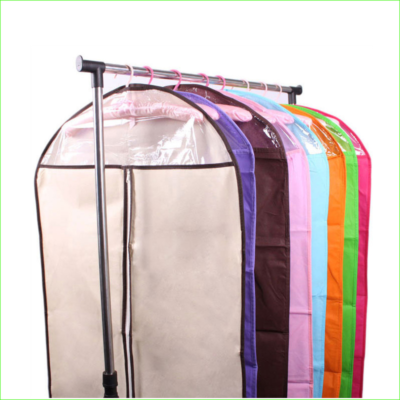 1pcs Wholesale thickening transparent non-woven clothes dust bag suit storage bag stereo clothes cover(China (Mainland))