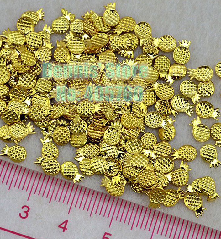 Wholesale 100PCS/Lot 3D Pineapple Shape Gold Alloy Nail Art Metal Decal Gems Rhinestones Free Shipping(China (Mainland))