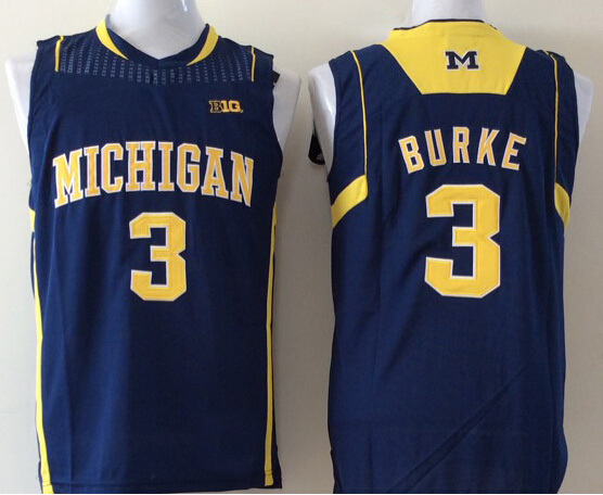 NCAA Michigan Wolverines Jersey #3 Trey Burke college jersey,Throwback basketball jersey,size:S-XXL