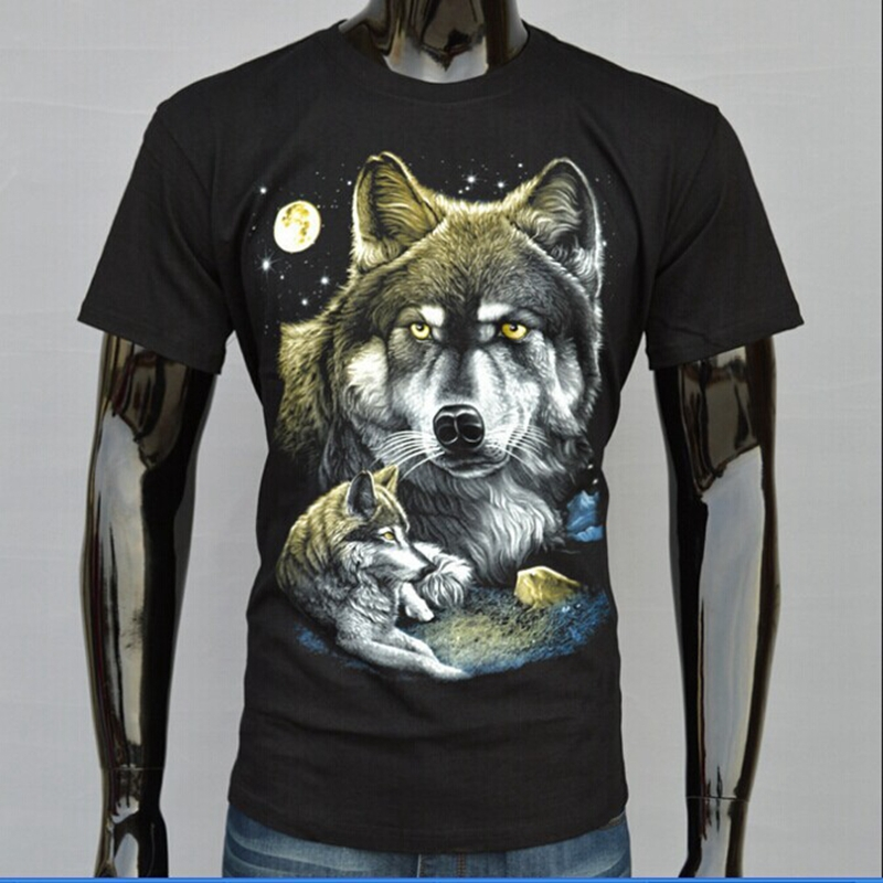 2015 Hot Black T-shirt 3D Wild Beasts Printed Couple Wolves Moon Starry Sky Short Sleeves Tops Tees Women Men Clothing(China (Mainland))