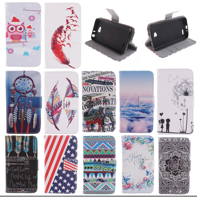 Luxury Pattern Leather wallet flip case for LG L70 D320N D325 Dual sim Cover bag with credit card holder and stand(China (Mainland))