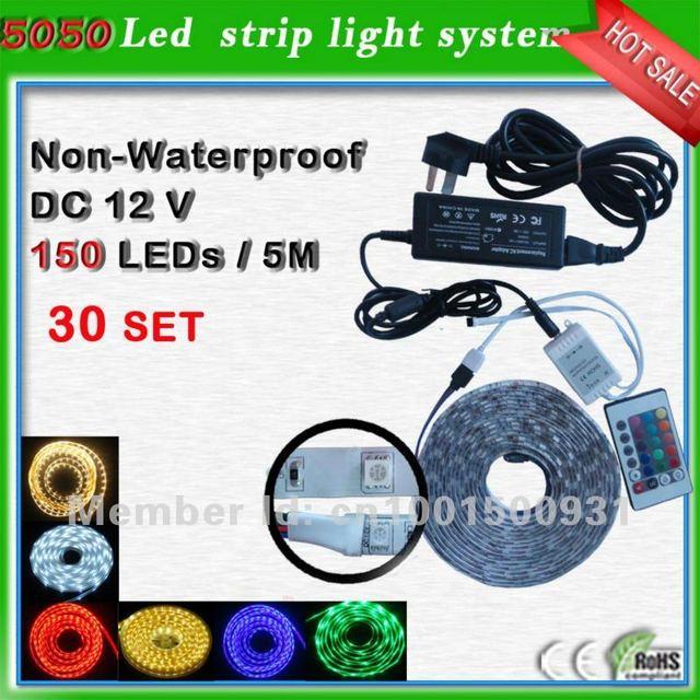 SMD5050 150 leds/roll led tape set_power supply+Strip 30 leds/m_smd led car light warm white free shipping