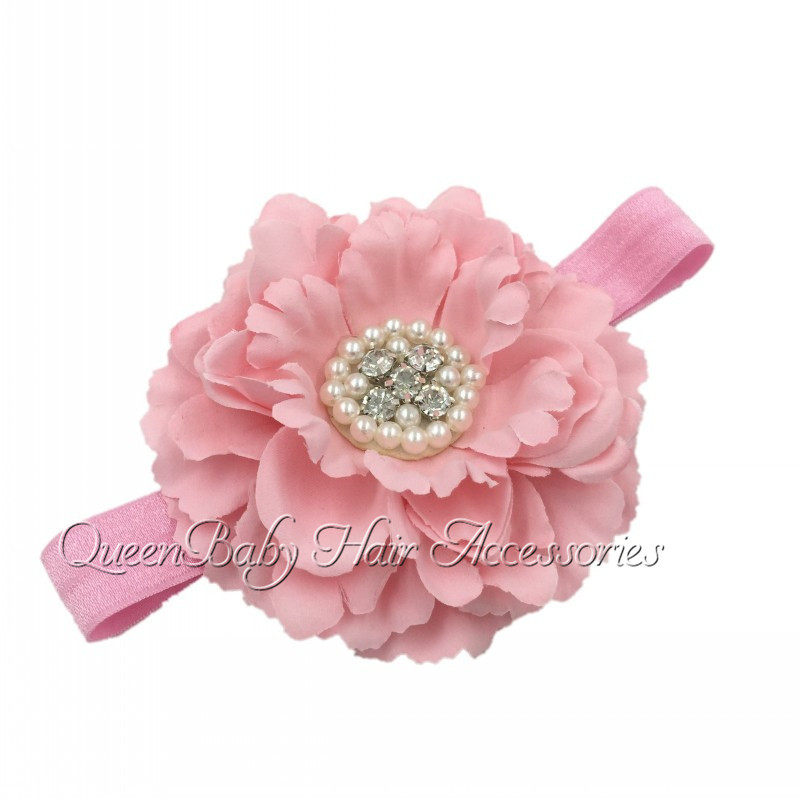 Baby Headband With Peony Flower Matching Sparking Rhinestone Pearls on FOE Headband Vintage Headband