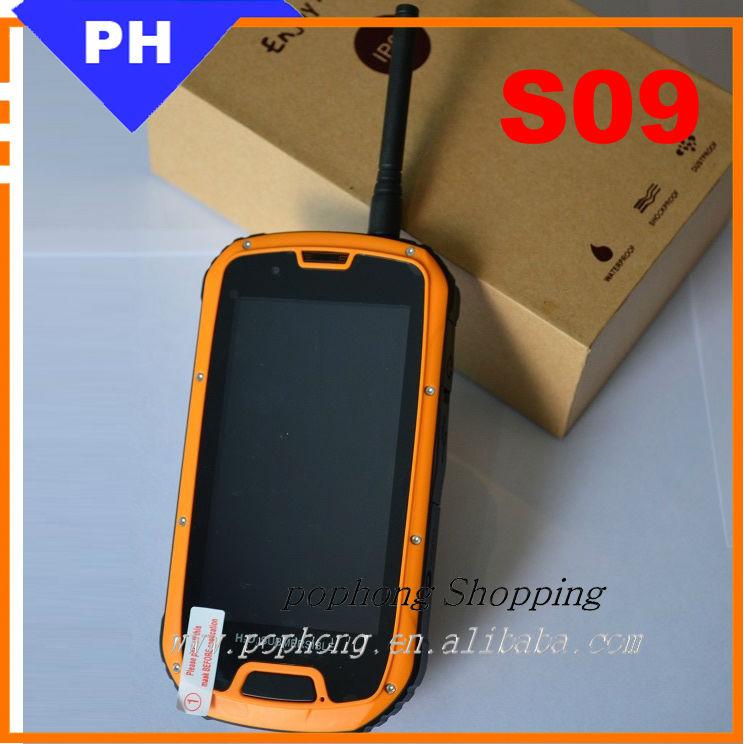 F 4.3 inch QHD 960*540 Dual SIM MTK6589 Quad Core waterproof shockproof phone s09 With PUSH TO TALK NFC 1G RAM 4G ROM(China (Mainland))