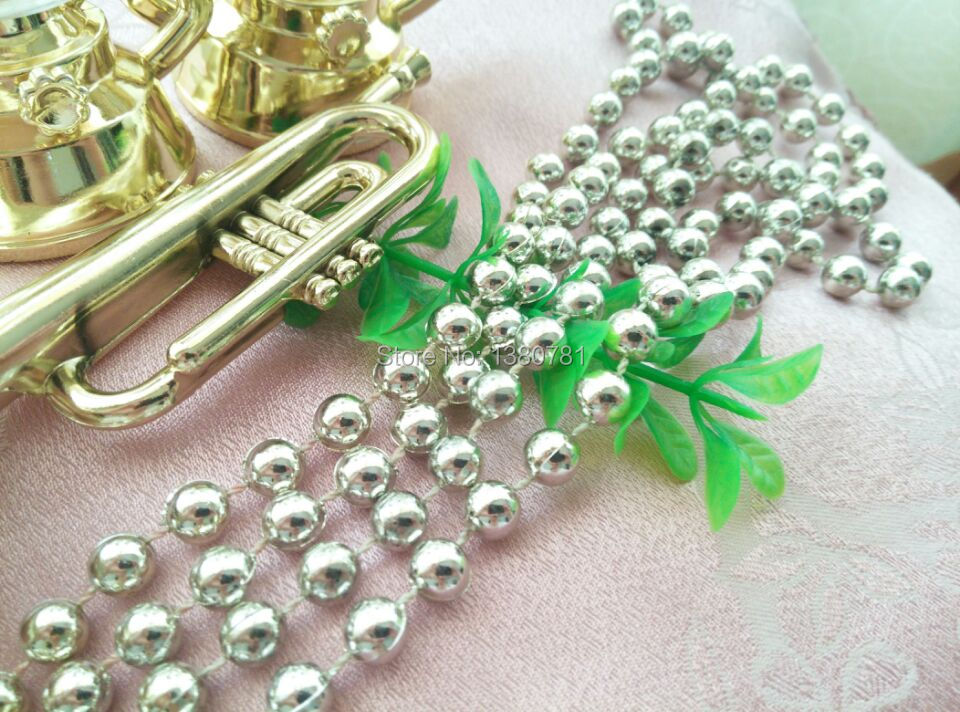 Christmas tree decoration Crafts supplies 6 meters of 6mm silver bead chain window door DIY curtain party birthday decoration(China (Mainland))