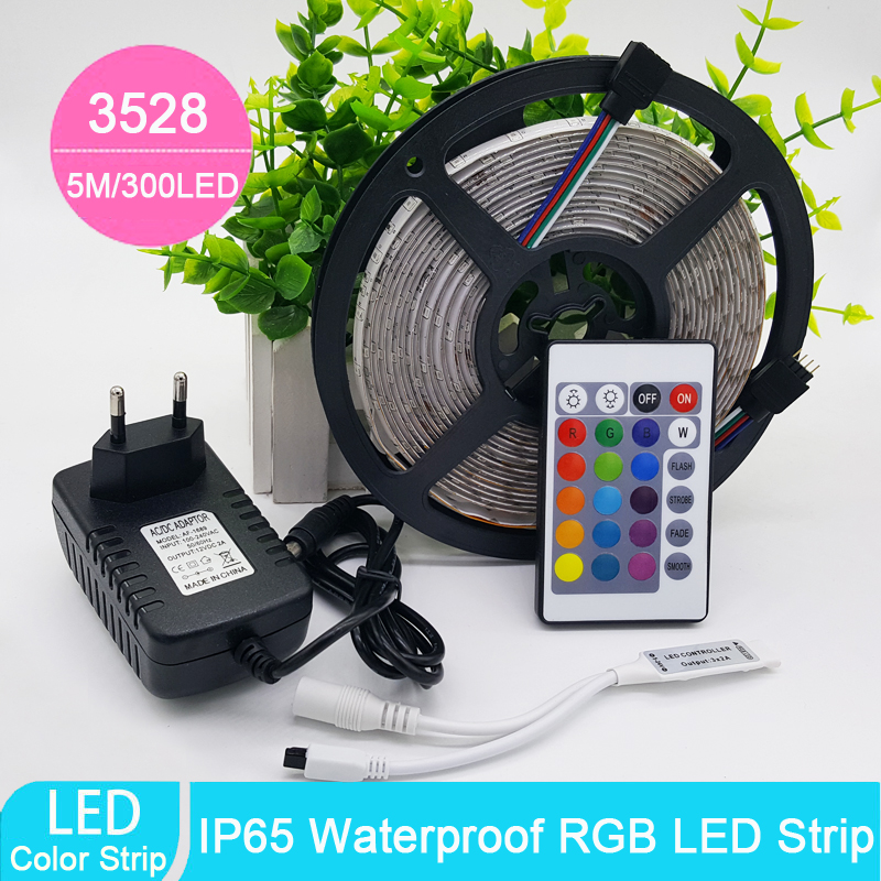 Wholesale 5m 3528 Waterproof LED Strip RGB IP65 Led Light DC12V 60LEDs/M outdoor lighting Ribbon Tape Lamp Home Decoration Lamp(China (Mainland))