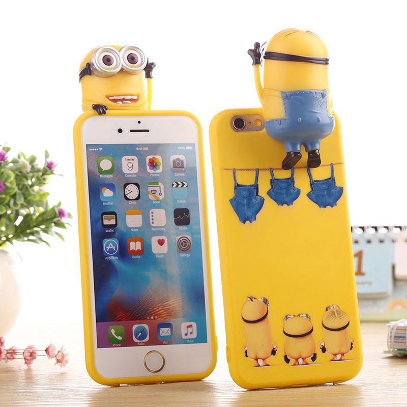 SA93 Lovely 3D Minions Doll Phone Case Silicone For iPhone 5 5s 6 6s Plus SE Mobile Phone Protector Back Cover Shell Housing(China (Mainland))