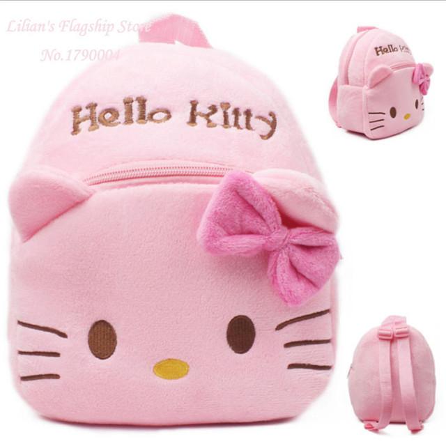 2016 новый Высокое качество розовые киски плюшевые мультфильм игрушки дети рюкзак мешок подарок для детей Mochila Infantil горячая распродажа
