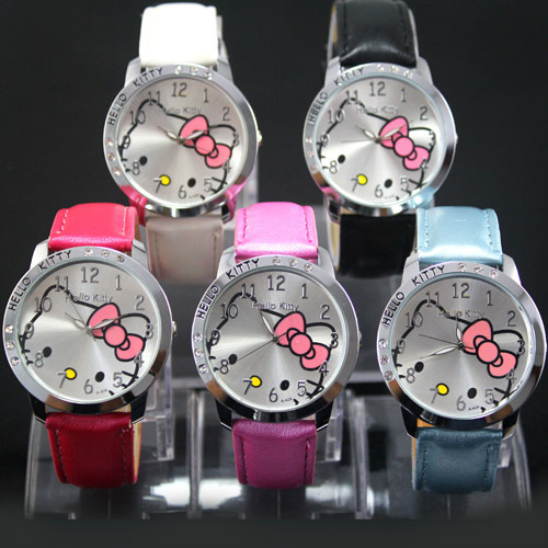 1PC Hello Kitty Lady Students Girls Watch Womens Woman Fashion Gifts Quartz Wrist Watches, 5 Colors Available