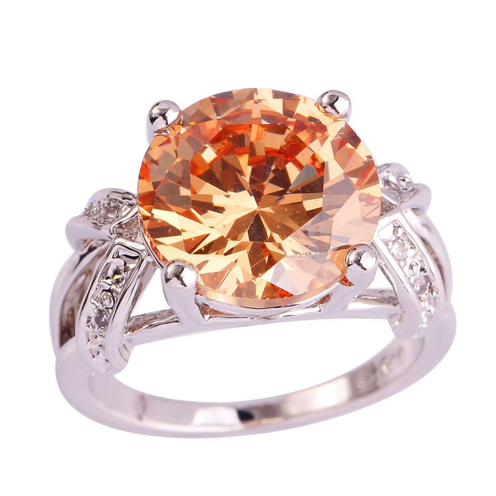 lingmei Wholesale New Jewelry Morganite & White Topaz Silver Ring Size 6