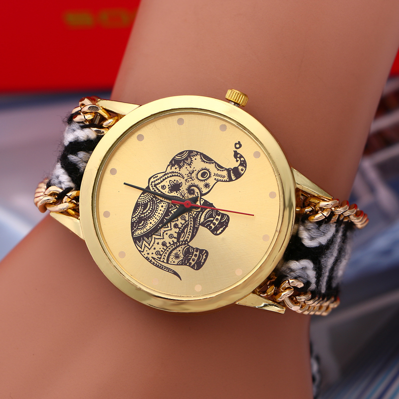 2015 New fashion national wind Elephant pattern exquisite handmade woven women dress watch bracelets quartz men