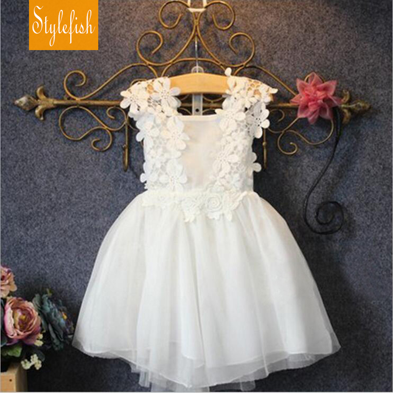 2016 New Girls Korean Version Childen Clothing Summer Lace Flowers Baby Sling Fairy Maiden Princess Vest Dress Hot Sale(China (Mainland))