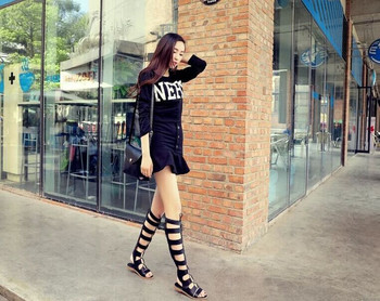 2015 женщины мода гладиатор сандалии из кожи плоский каблук сапоги на лето кин высокие загрузки открытым носком женская обувь из натуральной кожи