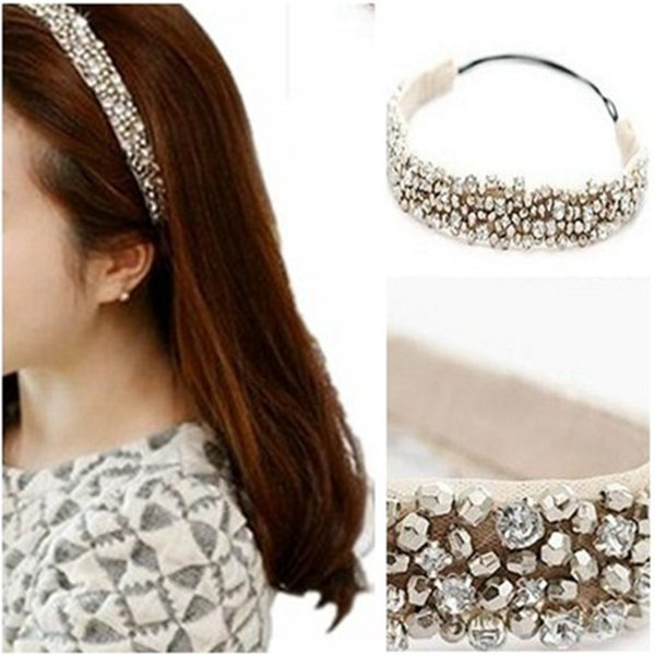 Hot Sale 1 pcs Collar Fashion Elastic Lace Hairband Rhinestone Beads Headband Hair Accessories Jewelry For Women Free Shipping(China (Mainland))