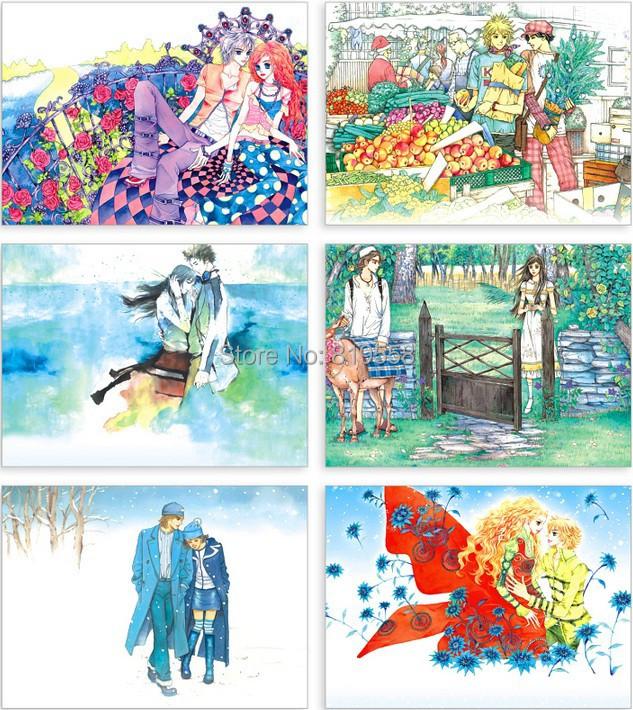 Винтаж вместе ручная роспись иллюстрации 24pcs/набор Рождественская открытка открытки/открытки/желание карты/свадьба карта