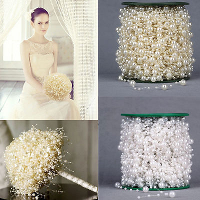 Roll 60m Ivory/White Pearls String Beads Garland Christmas Wedding Party Decor(China (Mainland))