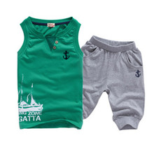 Free Shipping New Style Boys Summer Casual Clothing Set for Kids Sleeveless Fashion Suits A2841(China (Mainland))