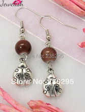 Fashion Earrings,  with Tibetan Style Pendant,  Glass Beads and Brass Earring Hook,  Sienna,  43mm(China (Mainland))