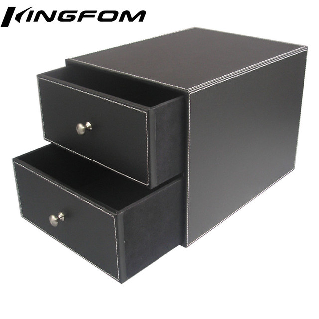 2-Drawer 2-Layer Leather Filing Cabinet Desk File/Document Holder Organizer Storage Box Black A286