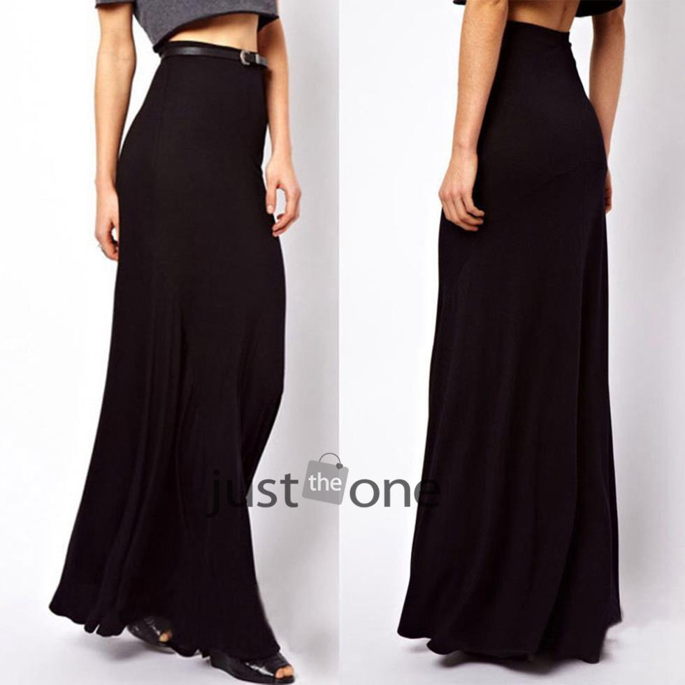 Chic fashion Women Summer Casual Sexy Stretch Cotton Bust skirt Long Maxi BOHO Black skirts 54(China (Mainland))