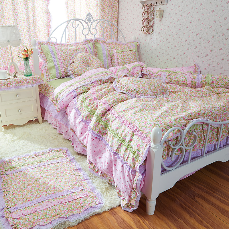 Spring and summer 100% cotton four piece set rustic fashion patchwork bedding set(China (Mainland))
