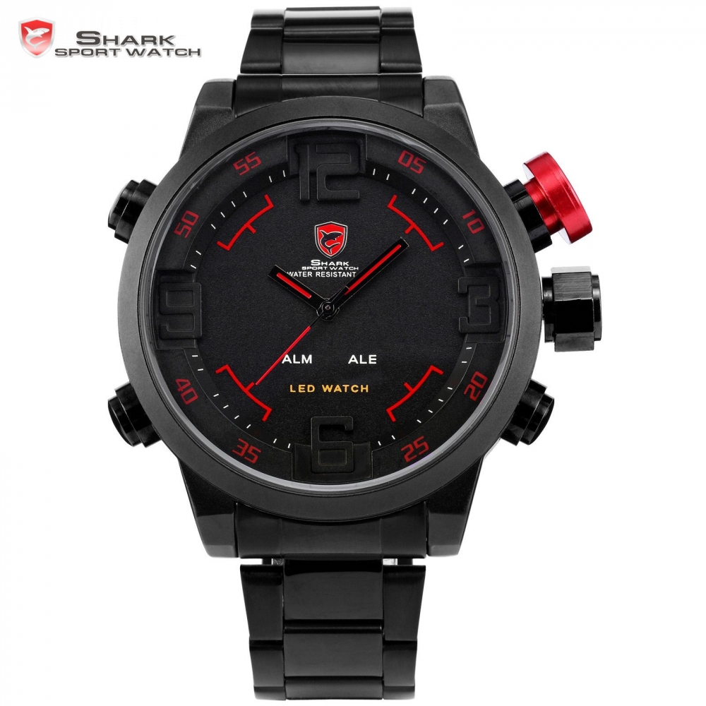 Gulper SHARK Sport Watch Series Digital LED Stainless Full Steel Black Red Date Day Alarm Men's Quartz Military Watches / SH105(China (Mainland))