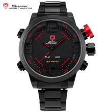 SHARK Sport Watch Analog Digital LED Stainless Full Steel Black Red Date Day Alarm Men's Outdoor Quartz Military Watches / SH105(China (Mainland))