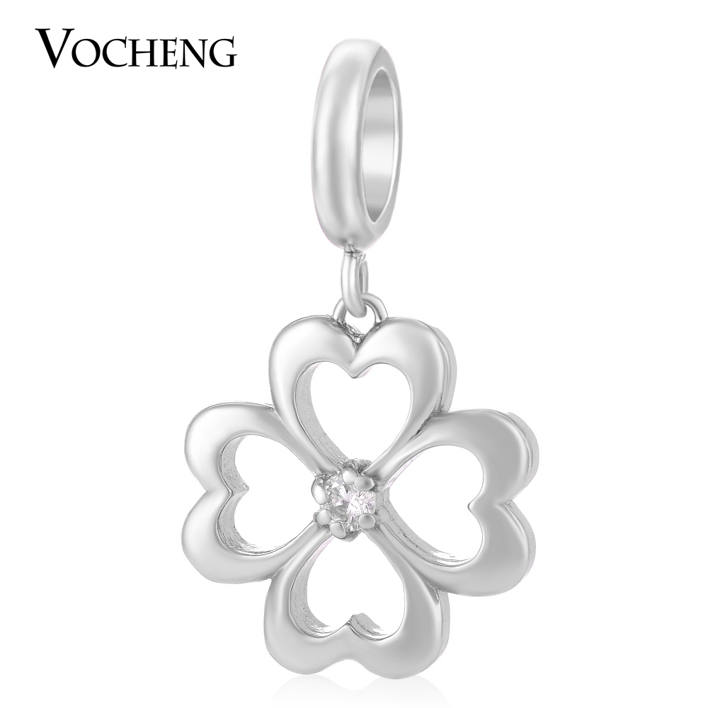 20pcs/lot Vocheng Garden Lucky Charm Inlaid Zircon 3 Colors Brass Material Interchangeable Drop Jewelry VC-165*20 Free Shipping(China (Mainland))