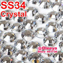 New Style ss34 Clear White A+DMC Hot fix Rhinestones Glass Iron On Strass Hotfix Stones For Motif Designs Y2879(China (Mainland))