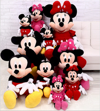 1 Pcs 28cm Hot Sale Lovely Mickey Mouse And Minnie Mouse Stuffed Soft Plush Toys High Quality Gifts
