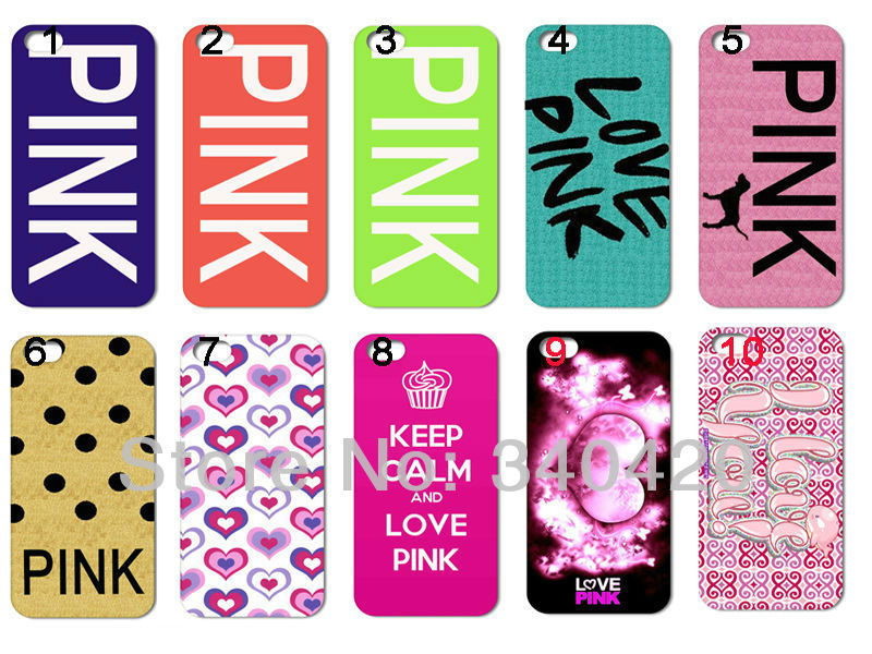 2013 Hot New style 10pcs/lots wholesale Love PINK hard white case cover for iphone 4 4G 4S + free shipping(China (Mainland))