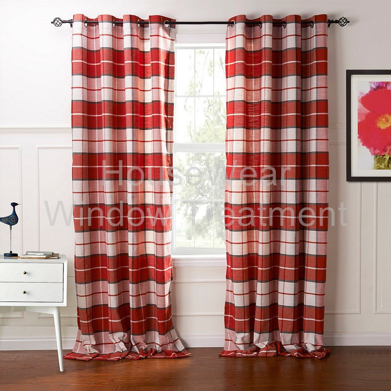 country retro red plaid eco friendly jacquard grommet top