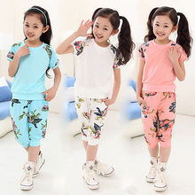 2016 New Sport suit Kid girl clothes sets Floral Short Sleeve Summer T-shirt Tops and Pants Outfits Set 6-11Y