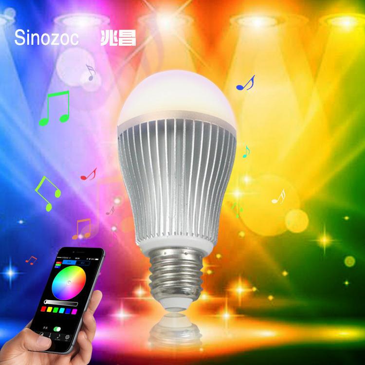Top 4pcs/lot Intelligent LED light bulbs 9W led lamp e27 220v Intelligent light bulbs,led rgb bulb lamp WIFI system(China (Mainland))