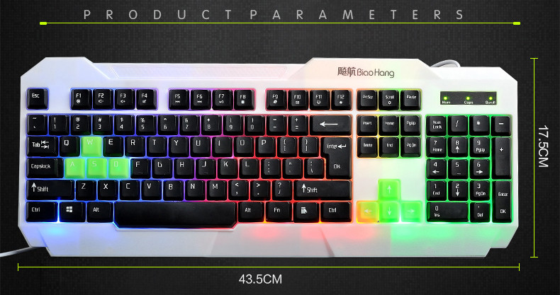 LED Backlit Computer Gaming Keyboard USB Wired Computer Peripherals for PC Laptop Notebook Free shipping(China (Mainland))