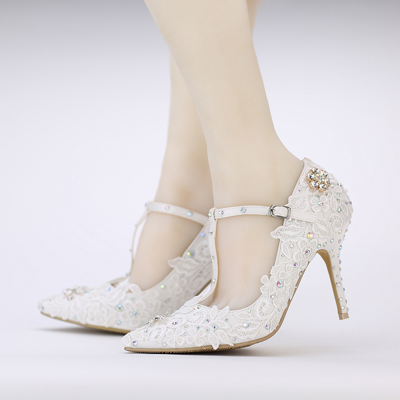 T Strap Pointed Toes Wedding Shoes AB Color Crytal Prom Party Women Shoes Buckle Bridal Shoes