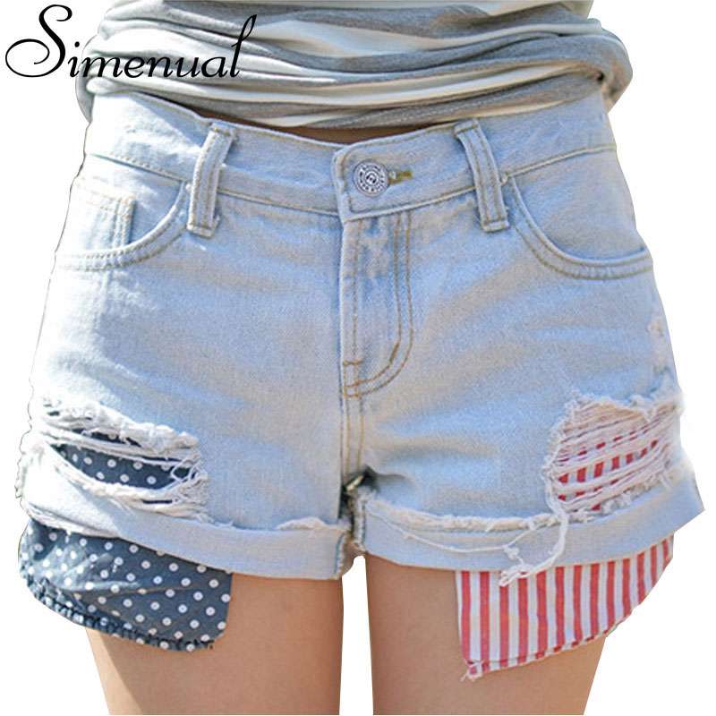 Patchwork print denim shorts women 2016 summer style slim light blue sexy short feminino high fashion new ripped vintage jeans(China (Mainland))
