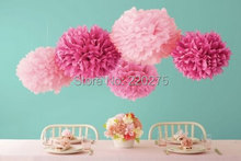"14"" 35CM 10pcs wedding PomPoms Ball Spring Tissue Paper Pom Poms Flower party Colors Weddings  Birthday Decorations Baby Shower(China (Mainland))"
