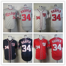 Top Quality NWT Washington Nationals Jersey #34 Bryce Harper Baseball Jersey Blue Red White Jersey Wholesale Price Fast Shipping(China (Mainland))