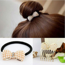 Top Selling Cute Bowknot Elastic Hair Bands For Women Scrunchy Leather headbands For Hair Jewelry(China (Mainland))