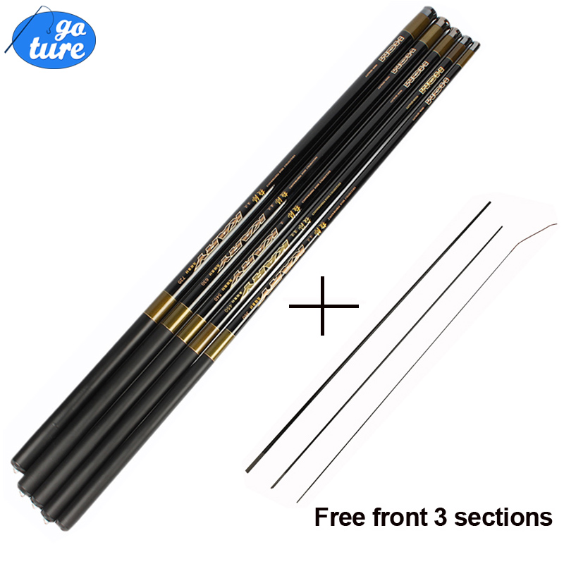 Carp Fishing Rod with Free Spare 3 Tips Carbon Fiber Fishing Pole Ultra-light 3.6-7.2M Hand Telescopic Fishing Rod(China (Mainland))